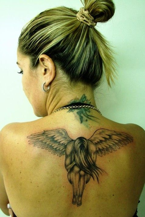 30 Angel Tattoos for Girls: Angel Tattoo on Back of Neck