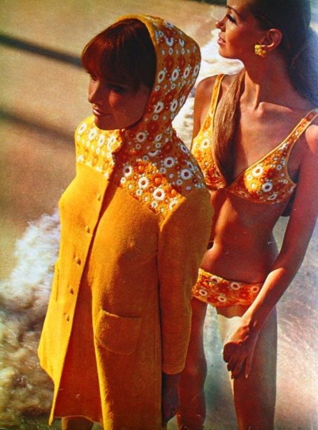 60s Swimwear. OMG I actually remember wearing something like this. Bikini and 'matching cover-up' made of orange towelling.