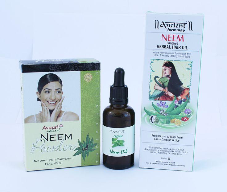 Neem je známy pre svoje antibakteriálne vlastnosti. Listy neemu sa používali počas stáročí na umývanie a dezinfekciu pokožky. Má antibakteriálne, antimykotické a protivírové vlastnosti, ktoré ho predurčujú na liečenie pokožky a vlasových problémov.