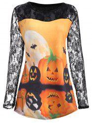 Plus Size Halloween Pumpkin Moon Lace Insert T-Shirt - ORANGE 2XL Mobile