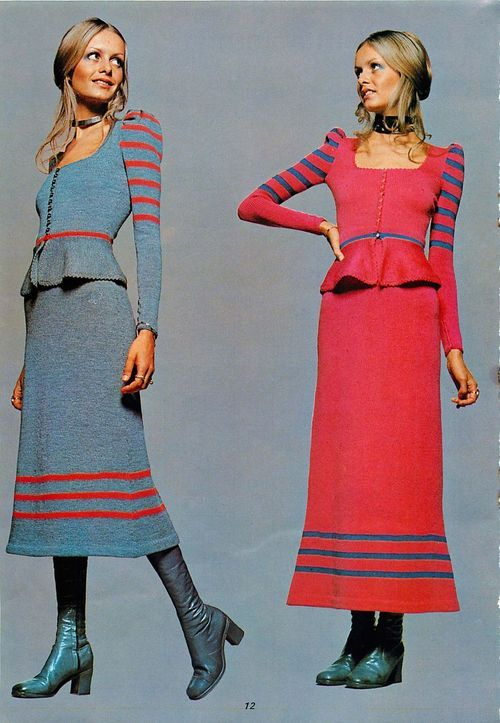 Twiggy 1970s st. john style knit dress suit set outfit skirt top jacket peplum blue pink red striped boots shoes model magazine color photo print ad designer