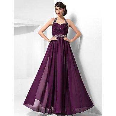 Sheath/Column Halter Floor-length Chiffon Evening/Prom Dress – USD $ 179.99