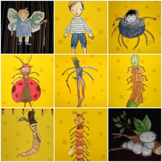 Wonderful characters from Roald Dahl's book, 'James and the Giant Peach' ~ Old man with the green things; James; Ms. Spider; Mrs. Ladybird; Mr. Grasshopper; Ms. Glow-worm; Mr. Earthworm; Mr. Centipede; Silkworm