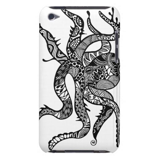 Octopus hand drawn art iPod case iPod Touch Covers