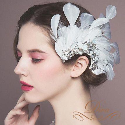 ウェディングアクセサリー ヘッドドレス ビジュー フェザー コサージュ クリップ 羽 装飾