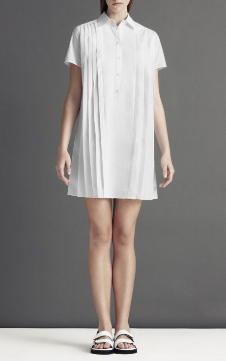 Short Sleeve Pleat Front Shirt Dress by Christopher Kane for Preorder on Moda Operandi