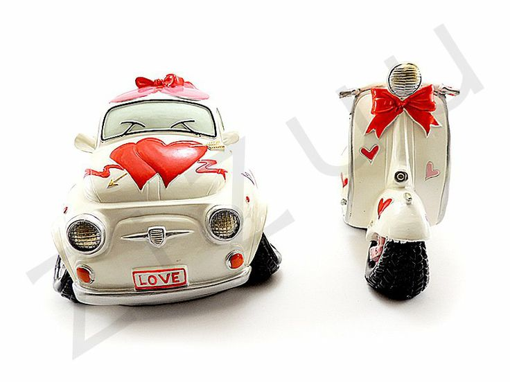 "Set salvadanai in resina ""Fiat 500"" e ""Vespa Love"" 