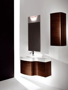 Secjo bathroom sink is a unique design which integrated a metal bathroom sink in a large wall mirror