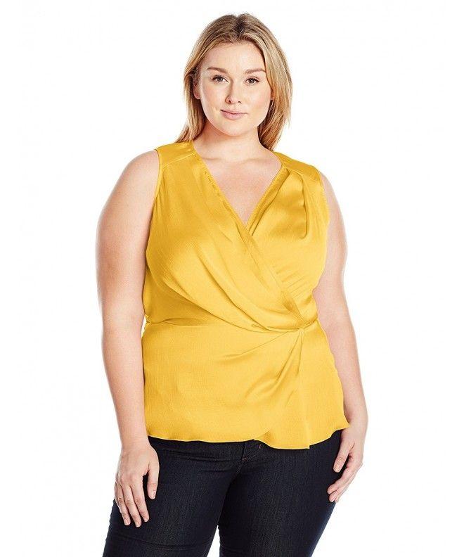 5d231359460025 Women s Plus Size Tulip Sleeveless Tank Top Blouse - Buff Yellow -  C417YQLH7Z3