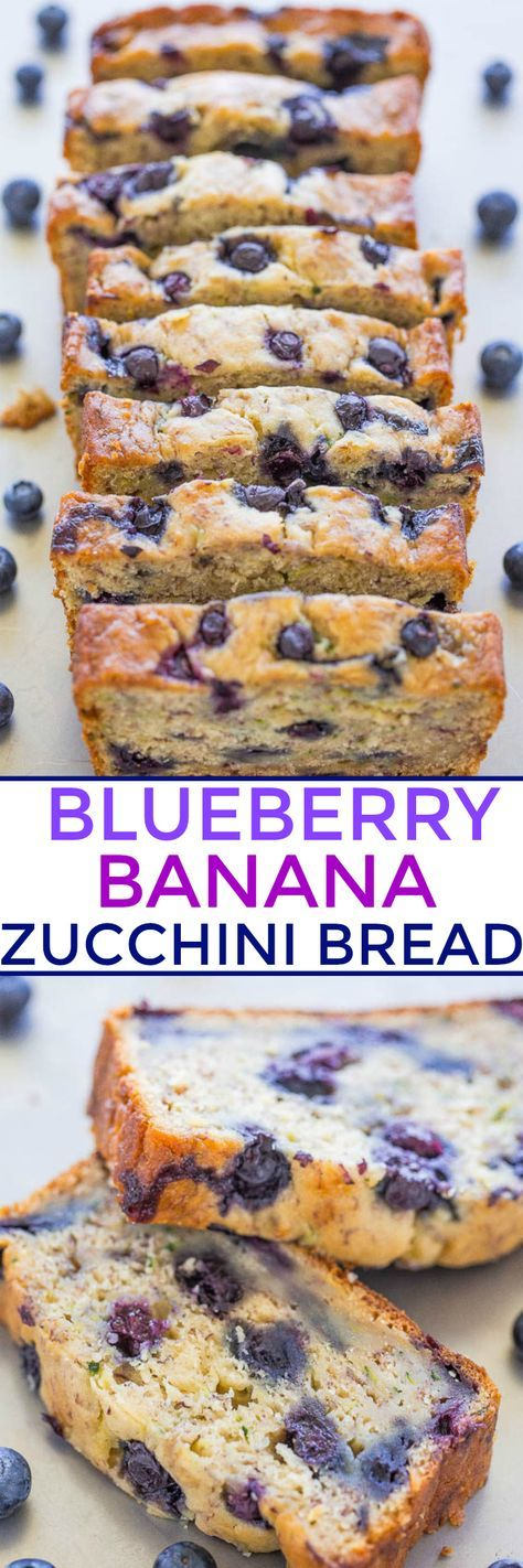Blueberry Banana Zucchini Bread - Banana bread just got BETTER with juicy BLUEBERRIES in every bite!! The zucchini (you can't taste it) keeps it moist and HEALTHY! Easy and DELICIOUS!!