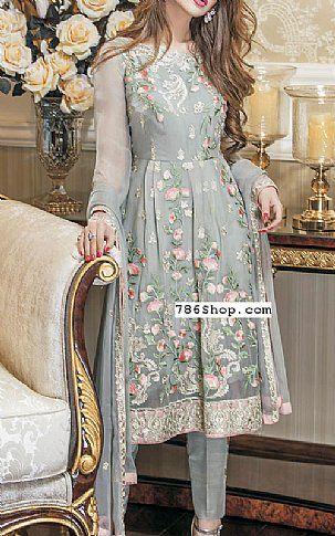Light Grey Chiffon Suit | Buy Maheen Kardar Pakistani Dresses and Clothing online in USA, UK