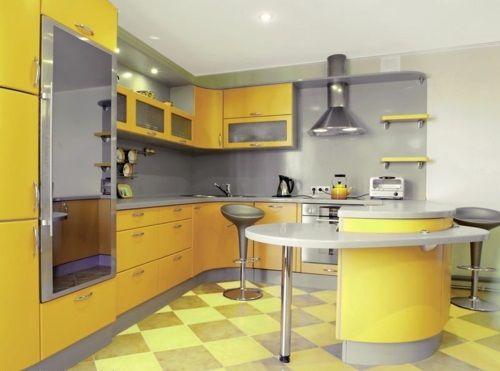 Außergewöhnlich Gelbe Küchen Oberflächen Grell Sonne Fliesen