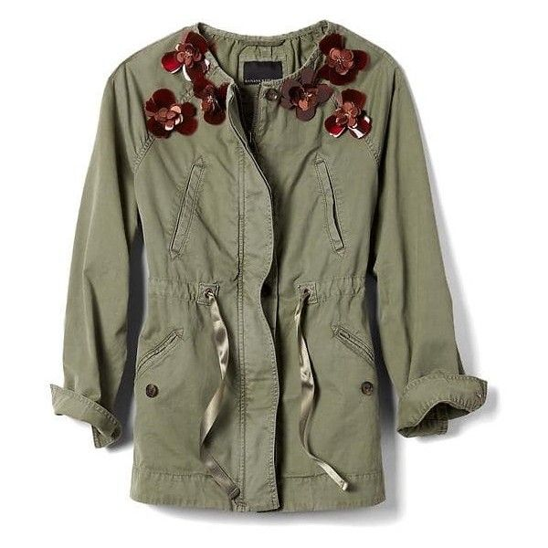 Embellished Military Jacket | Banana Republic ❤ liked on Polyvore featuring outerwear, jackets, embellished military jacket, field jacket, embellished jacket, military jackets and banana republic jacket
