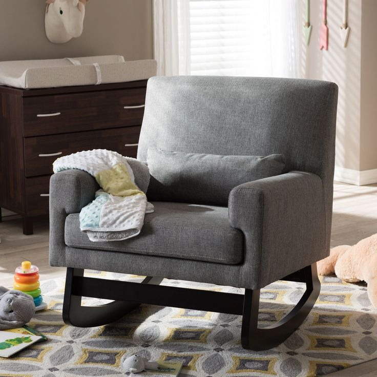 Baxton Studio Imperium Wood and Grey Fabric Contemporary Rocking Chair with Pillow (Rocking Chair-Grey)