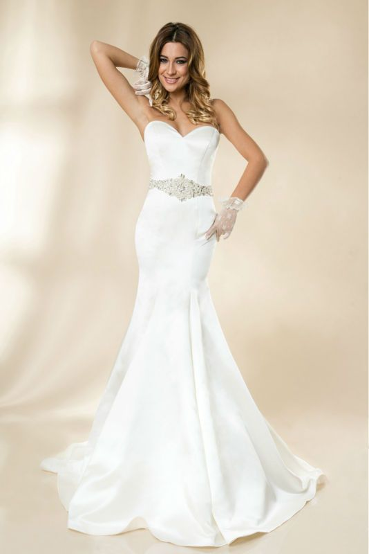 ==> [Free Shipping] Buy Best 2017 Romantic Fashionable Free Shipping New Or Sexy Satin Mermaid Crystals Slim Fit Wedding Dress Bridal Gown Custom Made Size Online with LOWEST Price | 32348479454