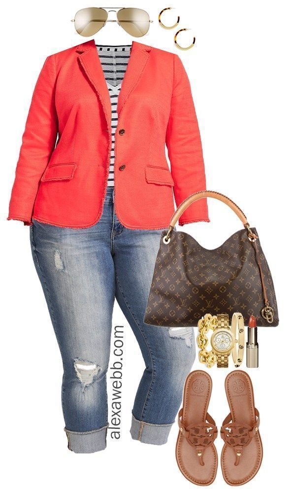 78760bcf512 Plus Size Orange Blazer Outfit - Plus Size Spring Summer Outfit Idea - Plus  Size Fashion for Women - alexawebb.com  alexawebb