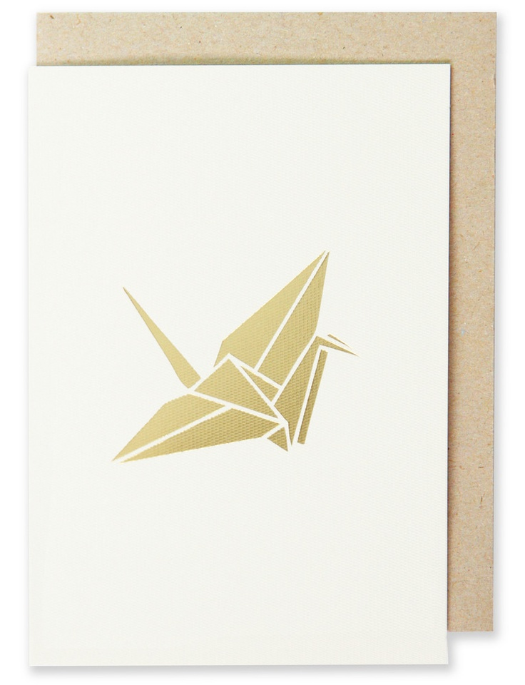 002 - Crane Greeting Card Metallic Gold Foil, Blank Interior  www.splendourvendor.com