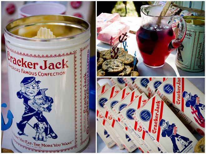 GENIUS party theme: Cracker Jacks.  Color palette, nautical theme and food all in one!