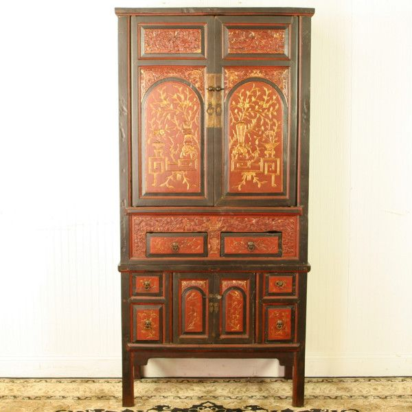 Antique Chinese Fujian Red & Brown with Gold accents, Wedding Wardrobe  Cabinet - 96 Best Decorating With Asian Antiques Images On Pinterest
