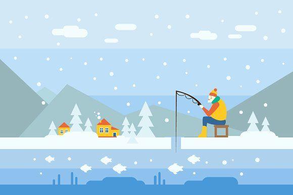 Winter Fishing by TopVectors on @creativemarket