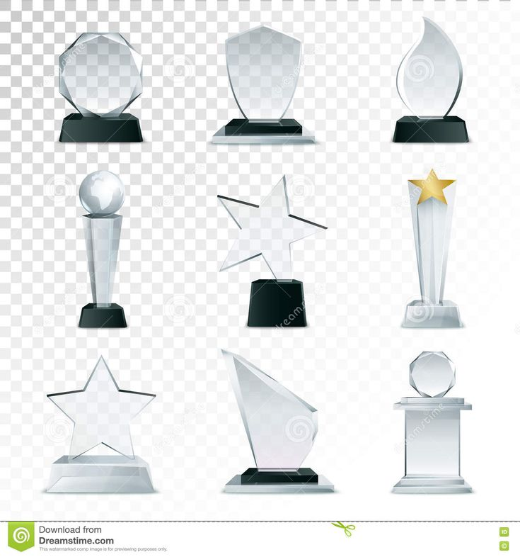 Glass Trophies Collection Transparent Realistic Image Stock Vector - Illustration of collection, contest: 79524171