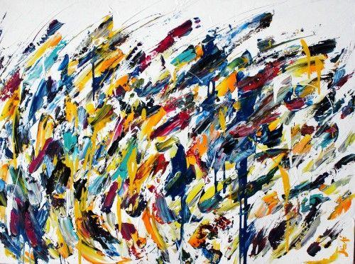 Abstract for SALE - Vague jaune 30x40 #abstract #art #painting Julien Aubé