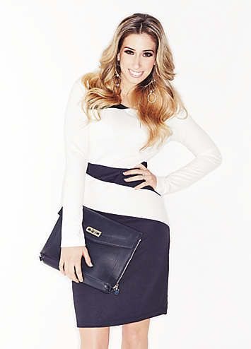 Stacey Solomon - Go mad for monochrome with this colour block dress by Laura Scott #StaceySolomonAndLookAgain