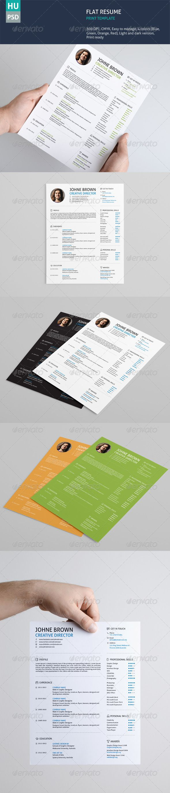 Flat Resume GraphicRiver Flat 43 best Resumes