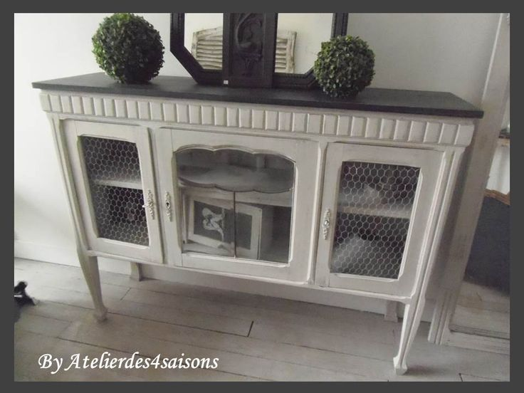 Meuble tv buffet console grillag patin gris perle blanc for Console meuble tv