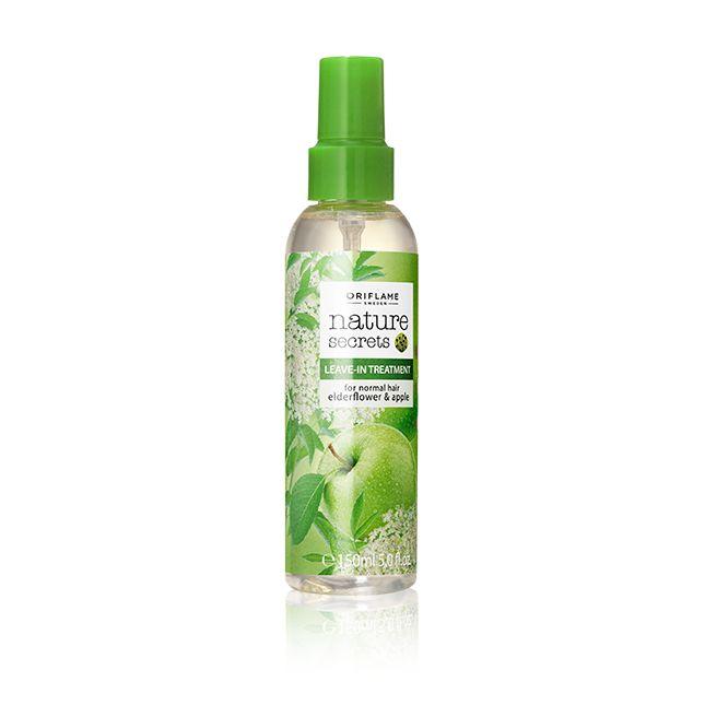Φροντίδα Χωρίς Ξέβγαλμα για Κανονικά Μαλλιά με Elderflower & Μήλο  Nature Secrets #oriflame Προϊόν θρέψης χωρίς ξέβγαλμα που ξεμπερδεύει και τιθασσεύει τα μαλλιά για άψογο τελείωμα. Συνδυάζει εκχυλίσματα αναζωογονητικού Elderflower και ενυδατικού μήλου με Γλυκερίνη και ένα αντιστατικό παράγοντα, ώστε τα μαλλιά να είναι υπό έλεγχο. 150 ml  Κωδικός:25352