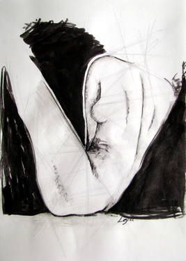 "Saatchi Art Artist Leyla Ozluoglu; Drawing, ""nude"" #art #watercolor #ink #nude #body"