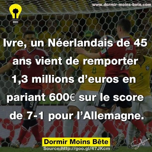 Ivre, un Néerlandais de 45 ans vient de remporter 1,3 millions d'euros en pariant 600 € sur le score de 7-1 pour l'Allemagne. Match Allemagne Vs Brésil - Coupe du monde 2014