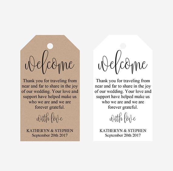 Welcome Bag Tags Hotel Bag Labels For Wedding Abroad Destination