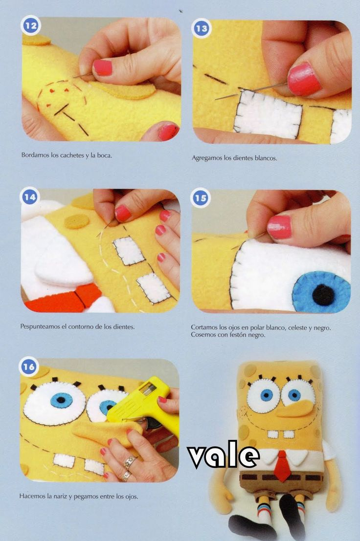 como hacer muñecos en tela bob esponja