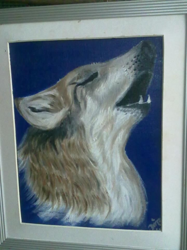 The Wolf Call {Sold} ~ Framed Oil Painting by Dawn Du Preez #DawnDuPreez