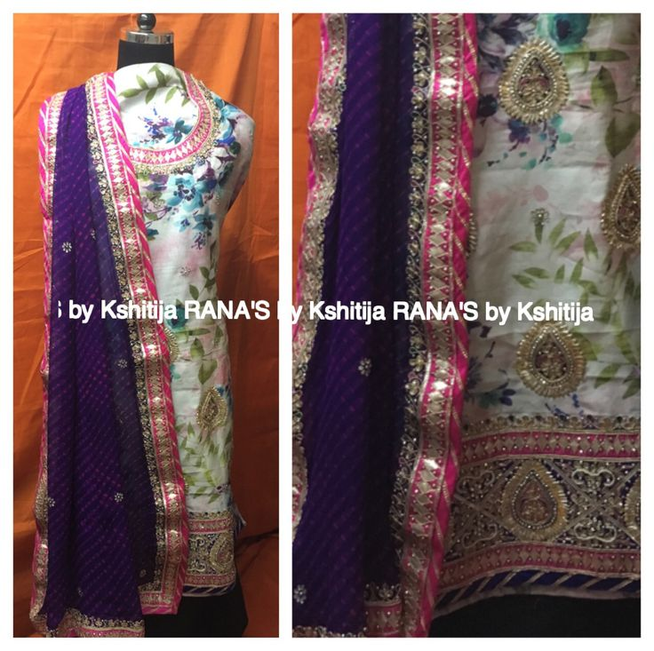 Floral n traditional fusion, suits with our signature toe n dye dupatta