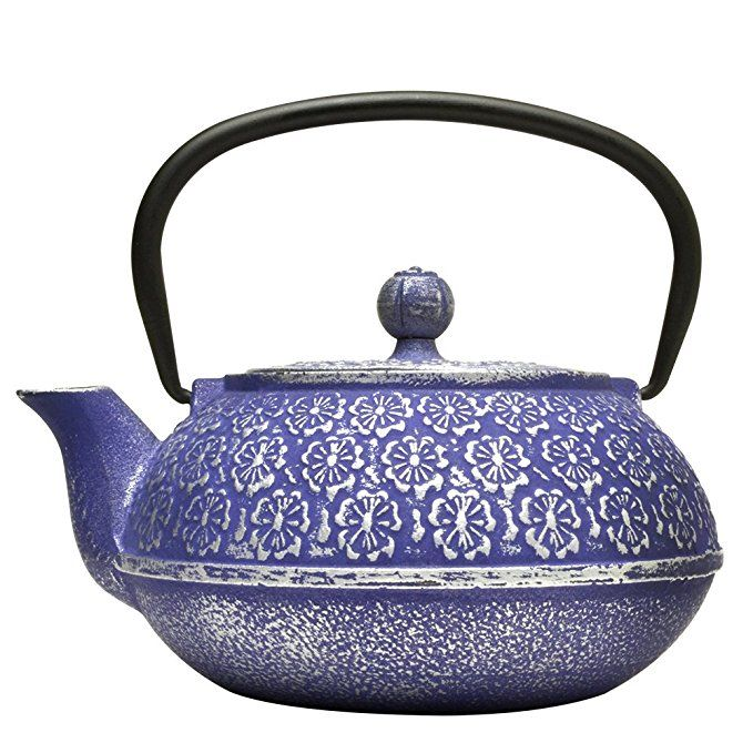 Primula Cast Iron Teapot Blue Fl