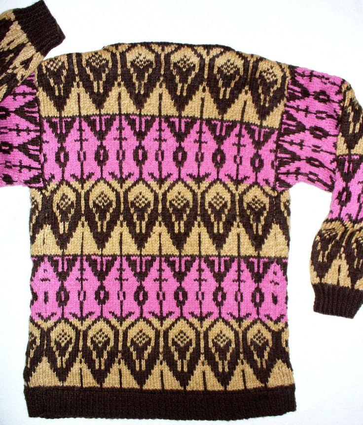 Pullover boat-neck beige brown pink horz design 34 bust