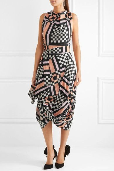 Eight draped printed cotton-voile midi dress.Vivienne Westwood Anglomania's 'Eight' dress is printed with peach, magenta, black and white checks. It's draped from swathes of cotton-voile to create the brand's signature folded neckline and full skirt. Use the sash belt to define your waist.
