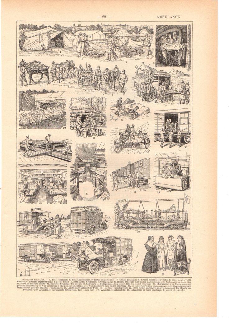 """Illustration vintage """"sépia """" Ambulance"""" Dictionnaire Français  1930/ Digital download de la boutique SoPrettyJoliVintage sur Etsy"""
