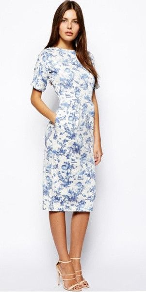 Modest Midi Floral Printed Dress with Elbow length sleeves below the knee | Mode-sty tznius mormom lds christian pentecostal style fashion