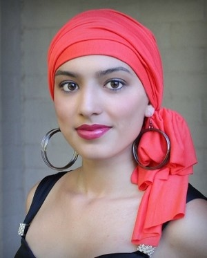 #Turban Head Wrap, hat and scarf set for alopecia, chemo hair loss, or just a bad hair day.#Nectarine Jersey Knit