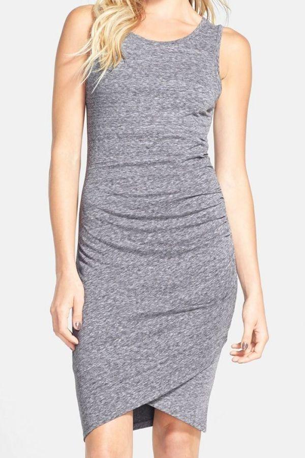 Grey Sleeveless Ruched Wrap Front Dress GRAY: Dresses 2015 | ZAFUL