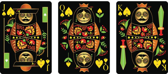Spades court cards from CALAVERAS DE AZÚCAR Playing Cards (BLACK Deck) that is currently on Kickstarter.    https://www.kickstarter.com/projects/393497409/calaveras-de-azucar-playing-cards