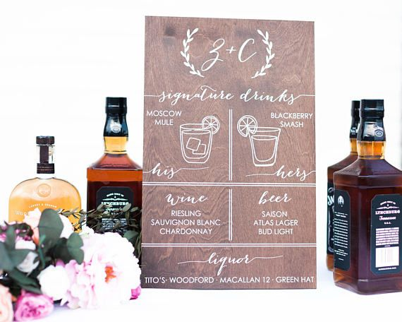 Signature Drinks Sign, Signature Cocktail Sign, Wedding Bar Sign, Wedding Bar Menu Sign, Wedding Menu Sign, Wooden Cocktails Sign, wood The cocktails sign pictured measures approximately 12 x 18. The wood is dark walnut with the lettering painted in white. Drink glasses are