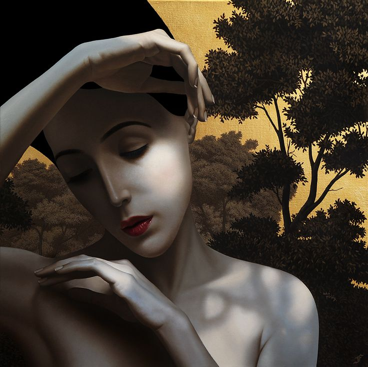 "Slava Fokk-""SUNLIGHT"",24""24""(43x43cm)oil on canvas,gold leaf(2016)"