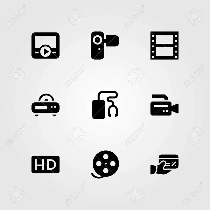 Technology vector icons set. credit card, video camera and hd , #AFF, #icons, #set, #Technology, #vector,