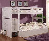 Cambridge Twin over Full Stair Stepper Bunk Bed White