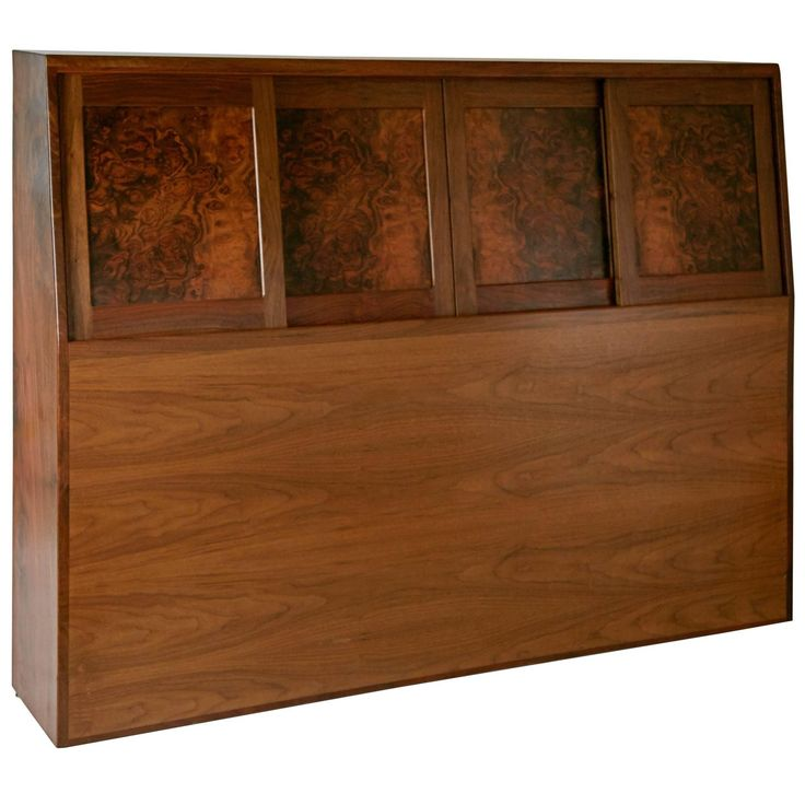 Solid Walnut Craftsman Headboard by Ed Crowell, Signed and Dated 1975