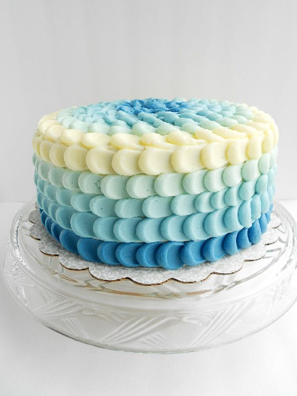 Would be really cute for a baby boy baby shower.        Culinary Couture: Blue Ombre Petal Cake
